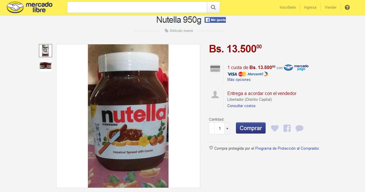 Precio de Nutella en Venezuela