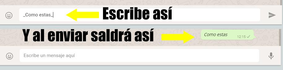 Cursiva en Whatsapp
