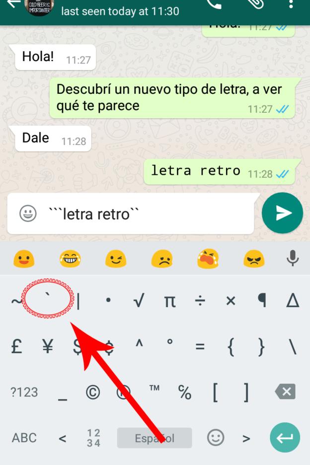 Letra Retro en Whatsapp