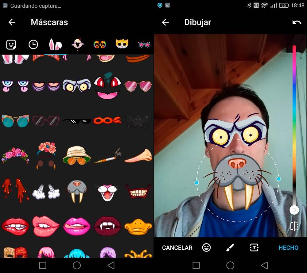 Mascaras o Filtros de Telegram
