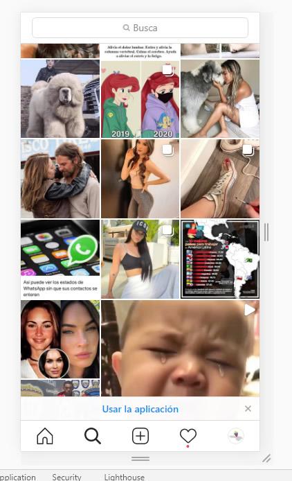 Vista de la versión móvil de instagram